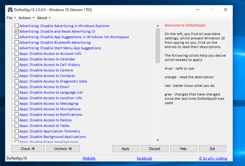 DoNotSpy10, freeware antispy tool for Windows 10