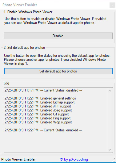 Photo Viewer Enabler allows you to easily enable the old Windows Photo Viewer as default application for photos on Windows 10. If you updated your Windows from older versions to Windows 10, you might be able to use Windows Photo Viewer already.