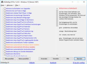 DoNotSpy10 1.2.0.1 Einstellungen